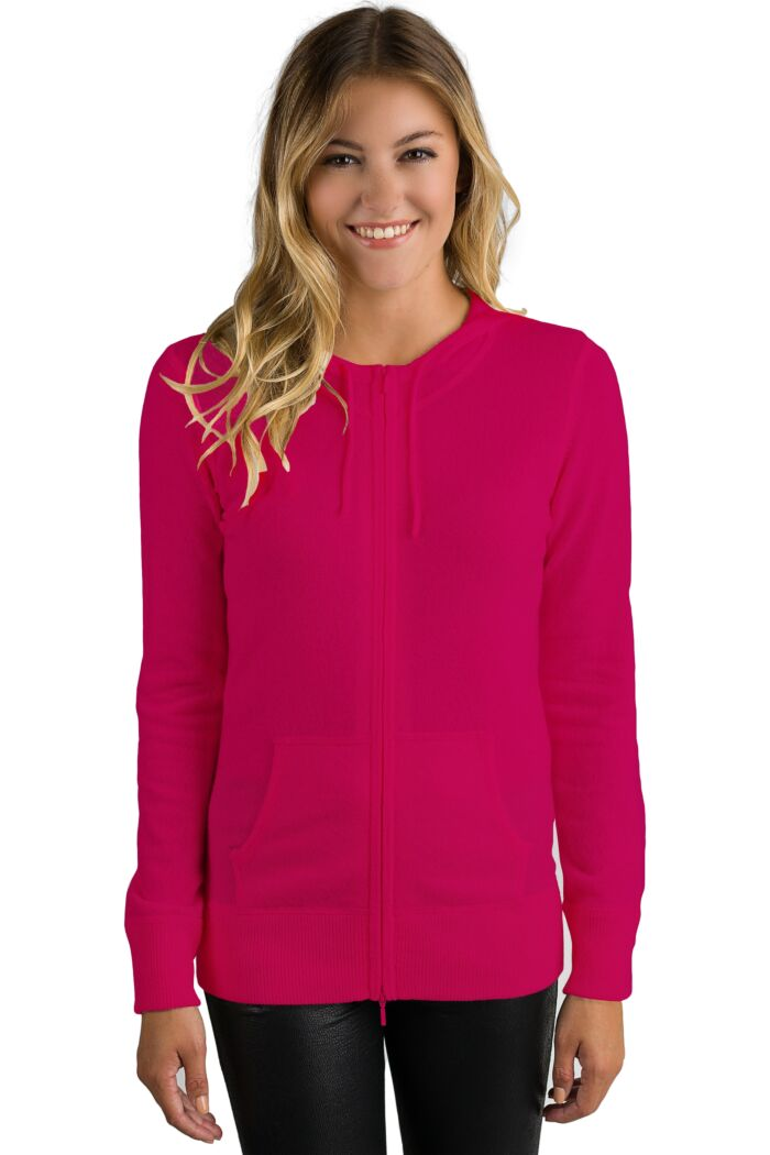 Hot Pink Cashmere Long Sleeve Zip Hoodie Cardigan Sweater
