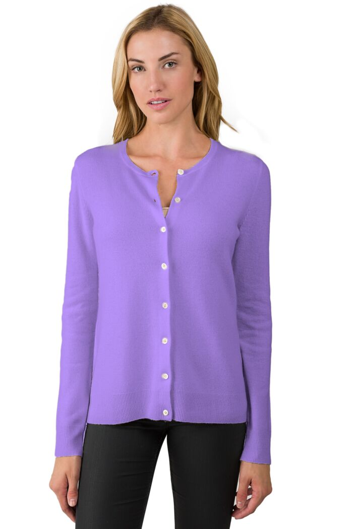 Lavender Cashmere Button Front Cardigan Sweater Front View