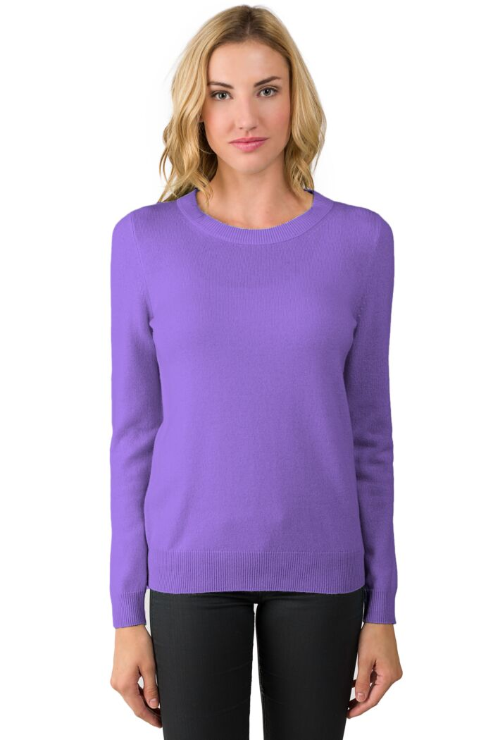 Lavender Cashmere Crewneck Sweater Front View