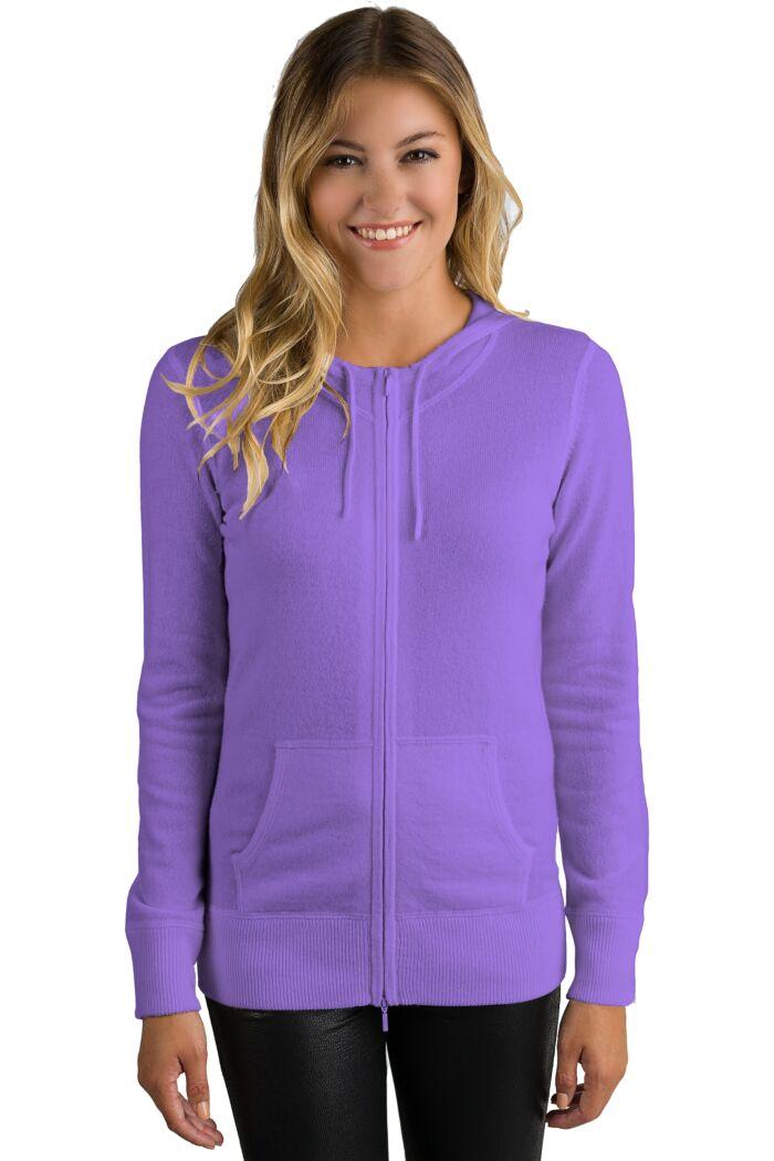 Lavender Cashmere Long Sleeve Zip Hoodie Cardigan Sweater