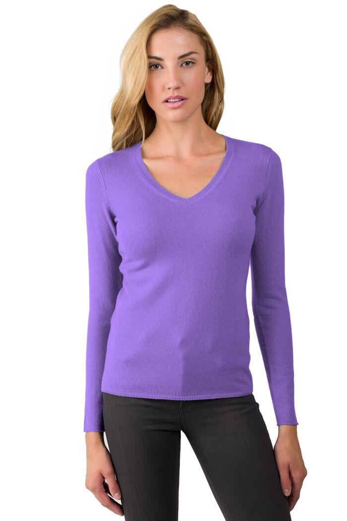 JENNIE LIU Women's 100% Pure Cashmere Long Sleeve Pullover V Neck Sweater(M, Lavender)
