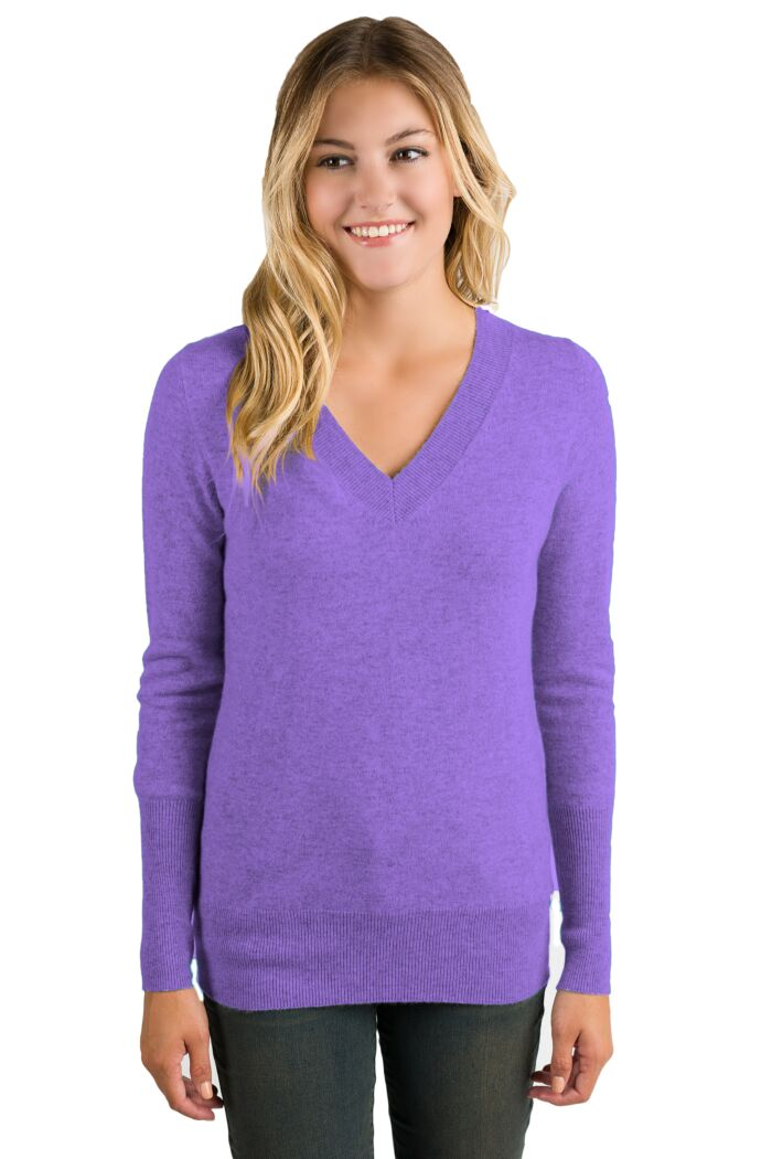 Lavender Cashmere Long Sleeve Ava V Neck Sweater Front View