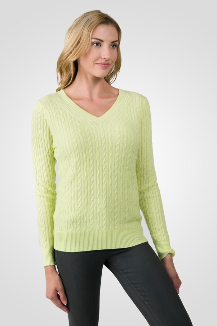 Lemonade Cashmere Cable-knit V-neck Sweater right side view