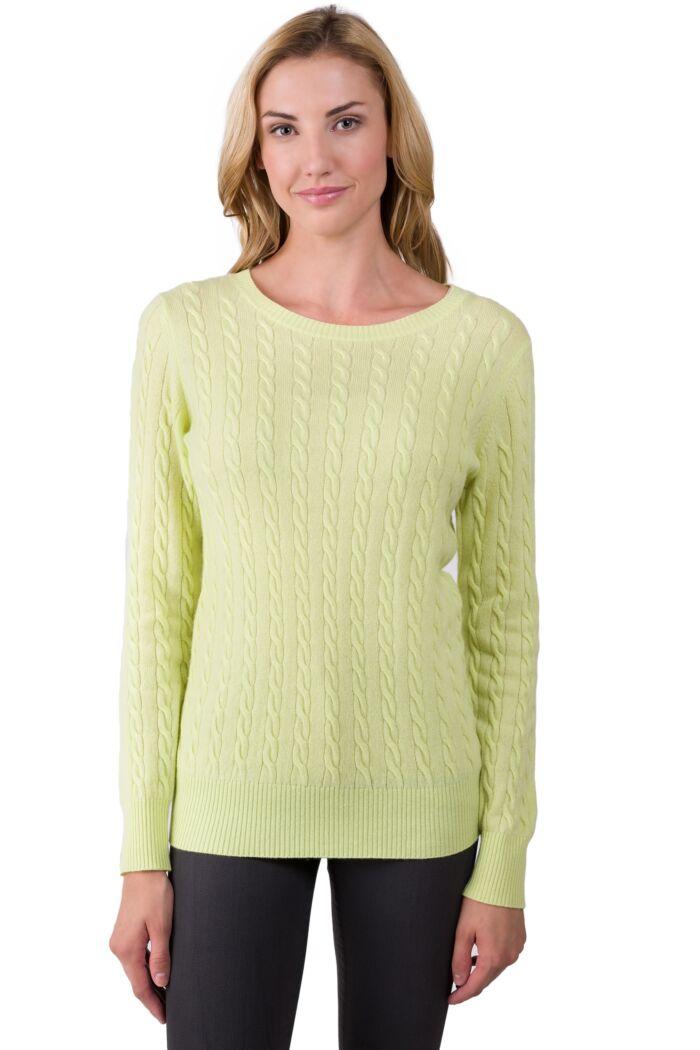 Lemonade Cashmere Cable-knit Crewneck Sweater front view