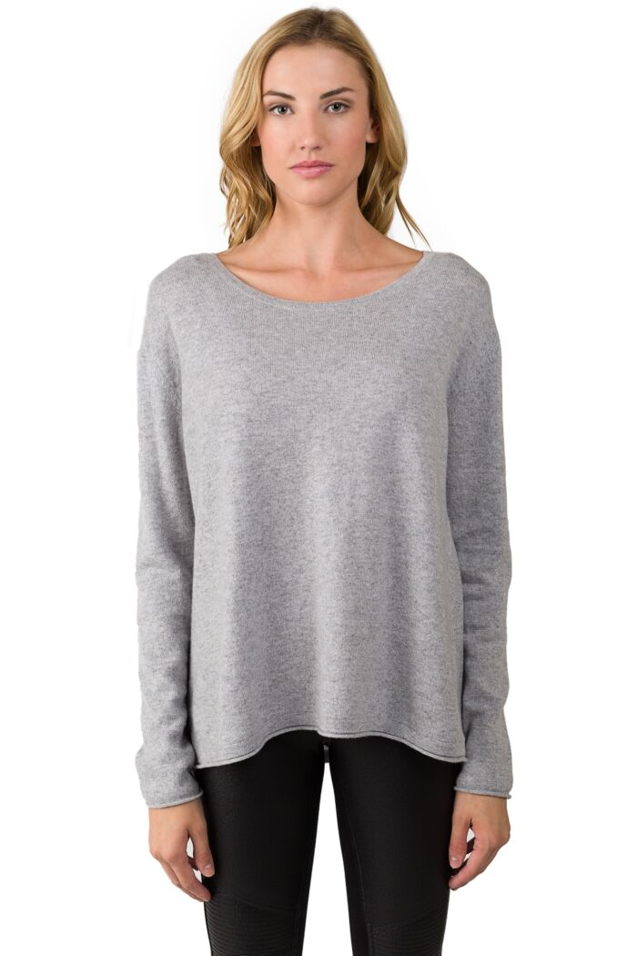 Lt Heather Grey Cashmere High Low Sweater-M