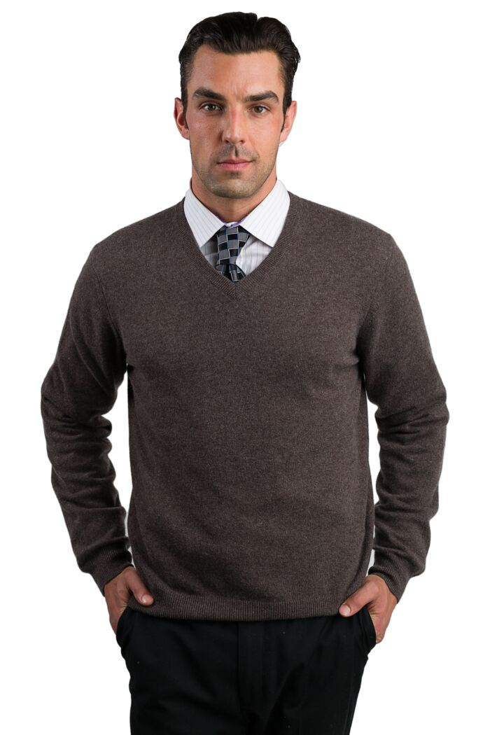 Brown Men's 100% Cashmere Long Sleeve Pullover V Neck Sweater Front View