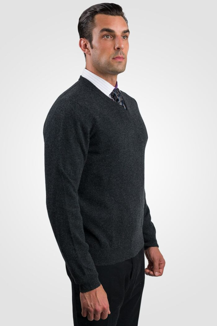 Charcoal Men's 100% Cashmere Long Sleeve Pullover V Neck Sweater Right View