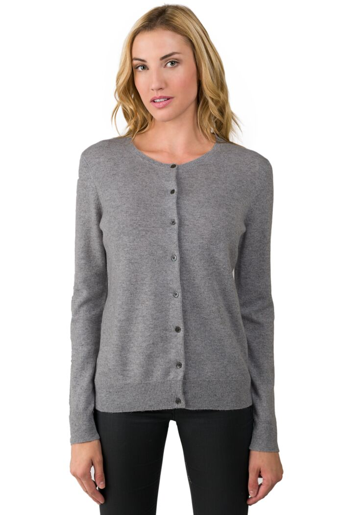 MidGrey Cashmere Button Front Cardigan Sweater Front View