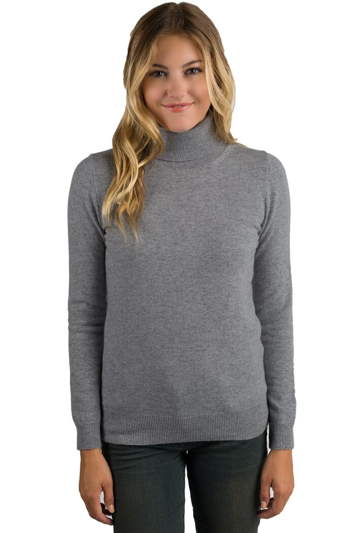 Mid Grey Cashmere Long Sleeve Turtleneck Sweater Front View