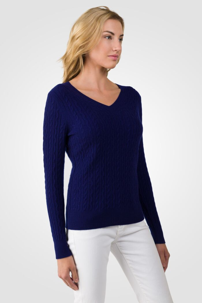 Midnight Blue Cashmere Cable-knit V-neck Sweater right side view