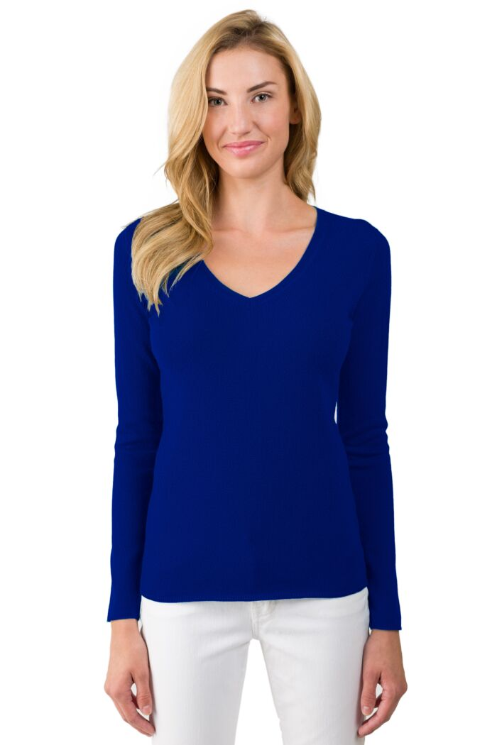 JENNIE LIU Women's 100% Pure Cashmere Long Sleeve Pullover V Neck Sweater(XL, Midnight Blue)