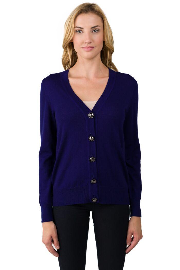 Midnight Merino Wool Long Sleeve V Neck Cardigan Sweater Front View