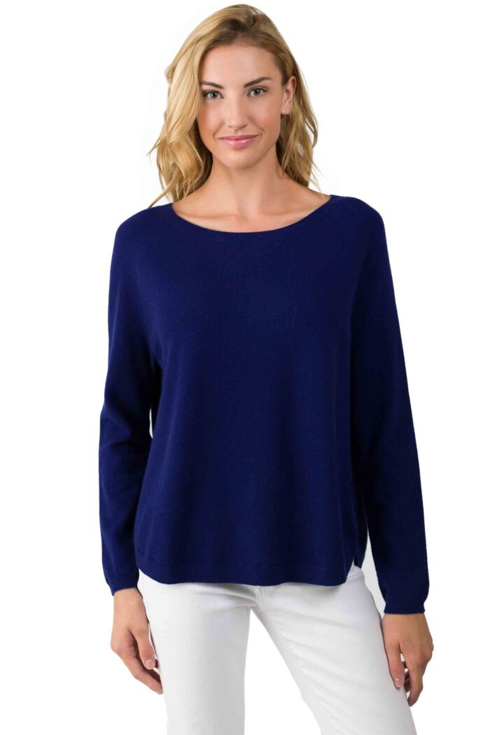 Midnight Blue Cashmere Boatneck Raglan Sweater front view