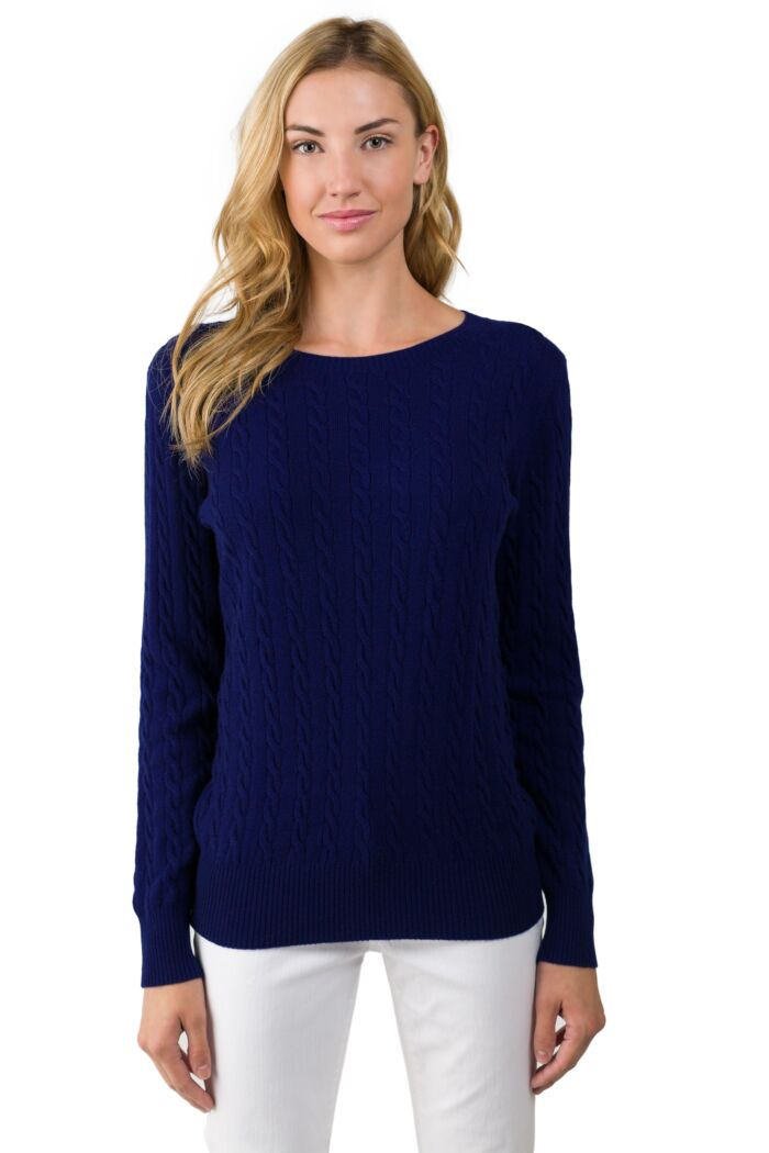 Midnight Blue Cashmere Cable-knit Crewneck Sweater front view
