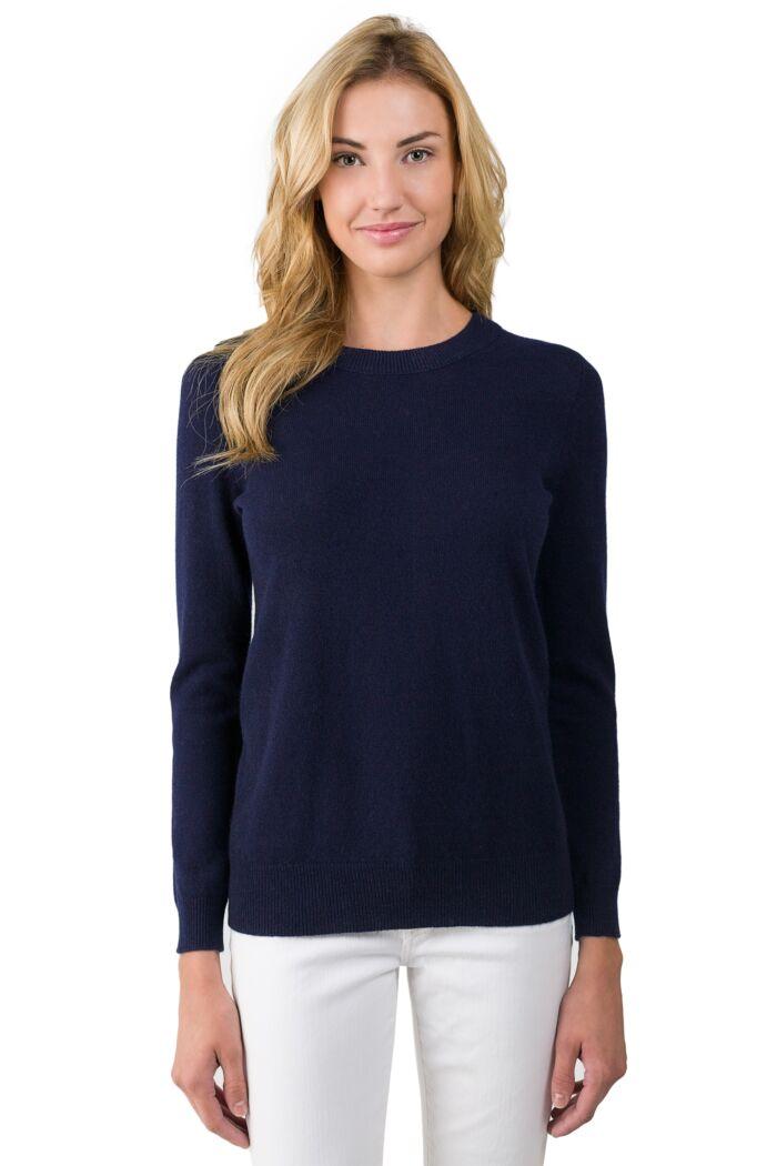 Navy Cashmere Crewneck Sweater