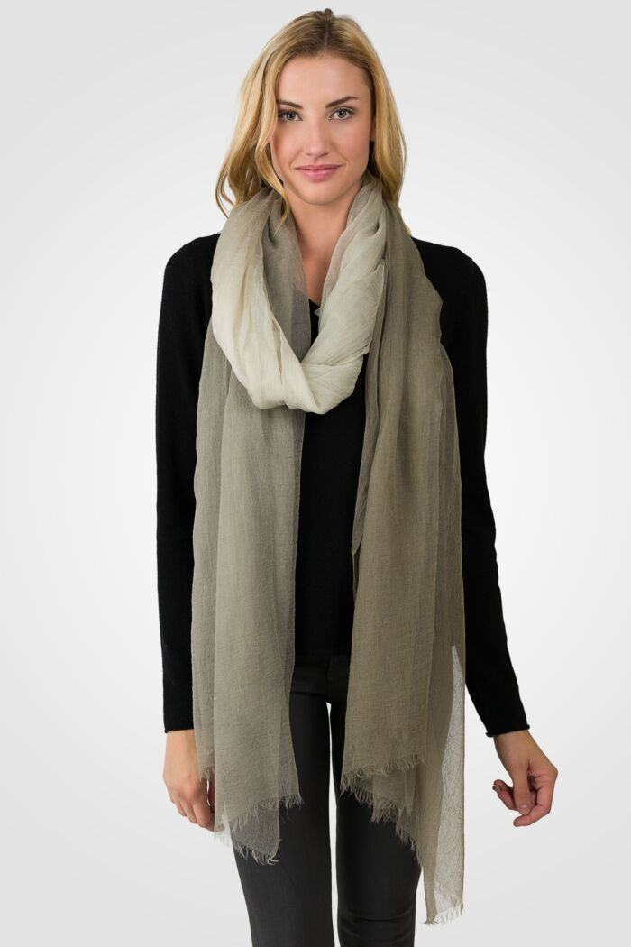 Mocha Ombre Tissue Weight Air Cashmere Shawl Wrap 2