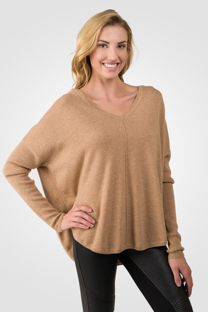Modern Camel Cashmere V-neck Circle High Low Sweater right side view