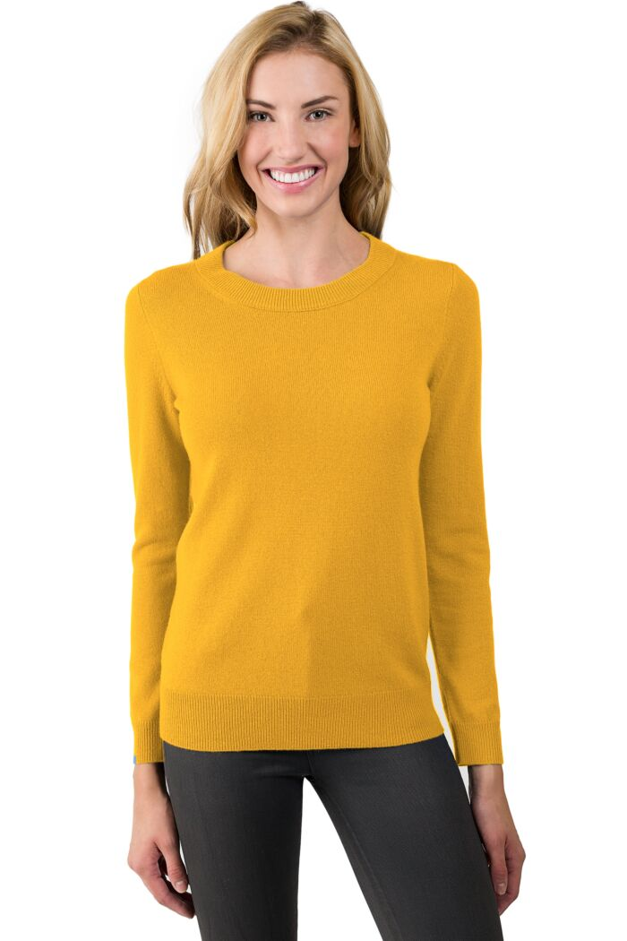 Mustard Cashmere Crewneck Sweater Front View