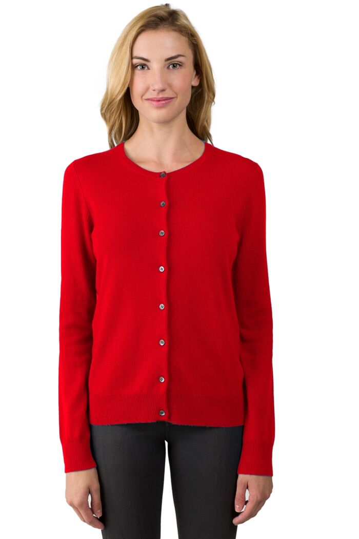 NeonRed Cashmere Button Front Cardigan Sweater Front View