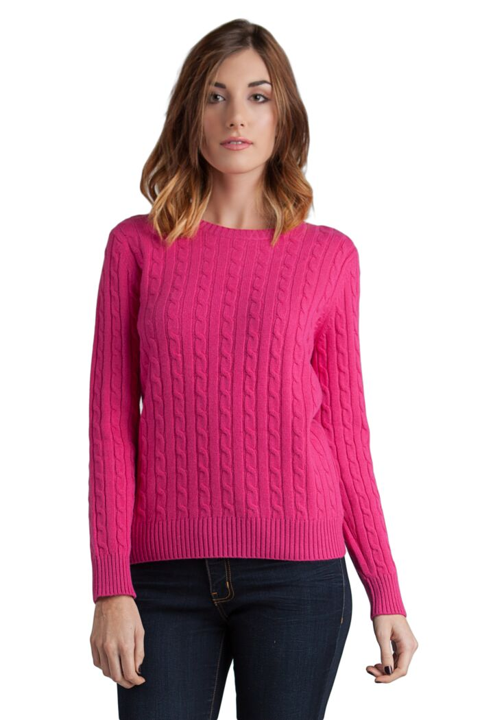 Hot Pink 4-ply Cashmere Cable-Knit Crewneck Sweater Front View
