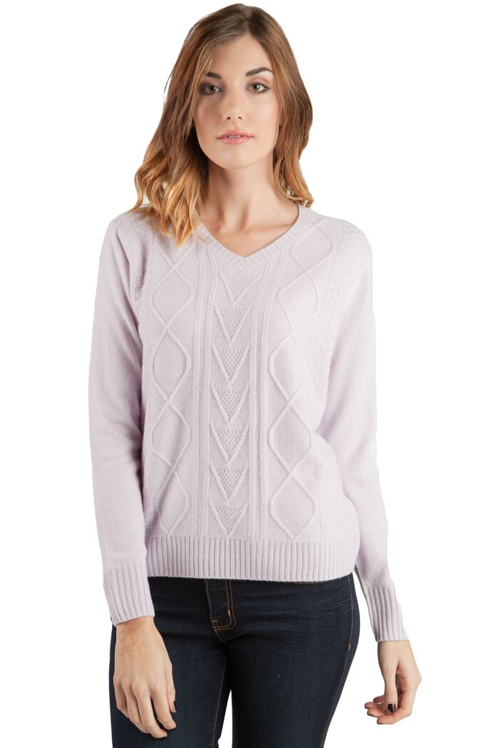 Powder 4-ply Cashmere Cable-Knit V-Nk Sweater Front View