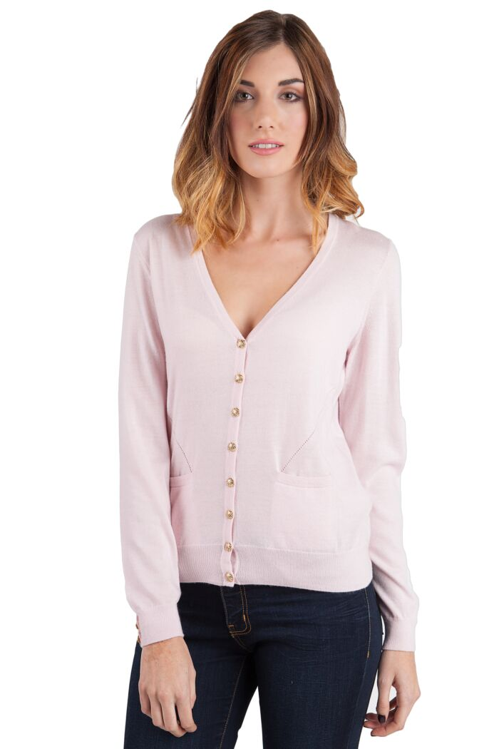 Pink Tissue Weight Cashmere V-Neck Button Front Cardigan Sweater Front View