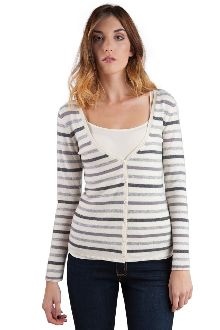 Grey Stripe Cashmere Long Sleeve V Neck Cardigan Front View