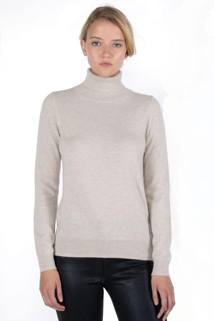 Oatmeal Cashmere Long Sleeve Turtleneck Sweater