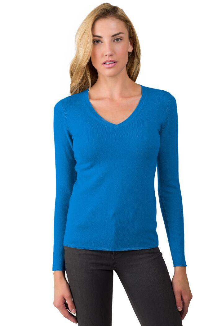 JENNIE LIU Women's 100% Pure Cashmere Long Sleeve Pullover V Neck Sweater(M, OceanBlue)