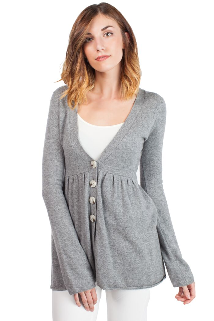 Grey Cashmere Deep V Neck Empire Long Sleeve Tunic Cashmere Cardigan Front View