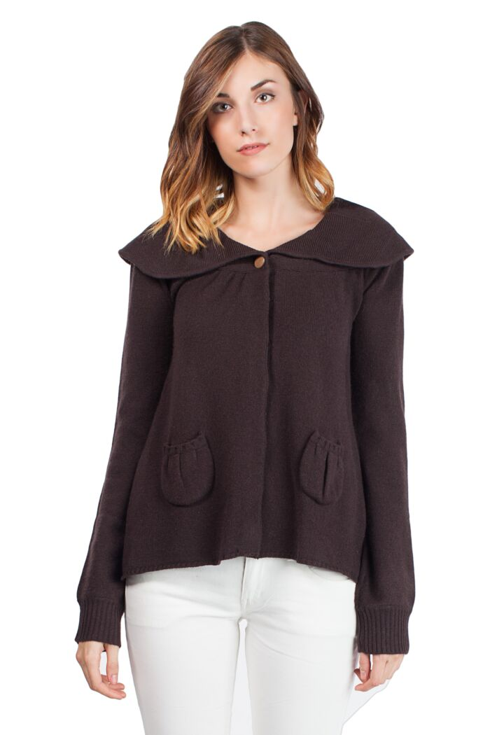 Chocolate Cashmere 4-ply Snap Cardigan Sweaters Front View