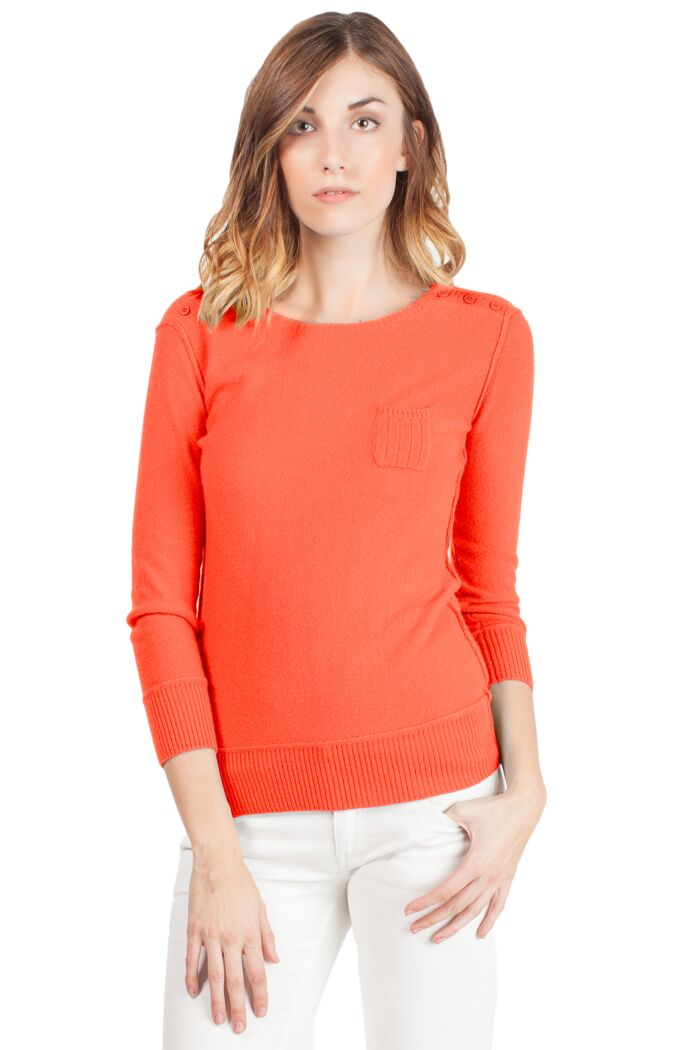 Orange Chloe Cashmere Crewneck Sweater Front View