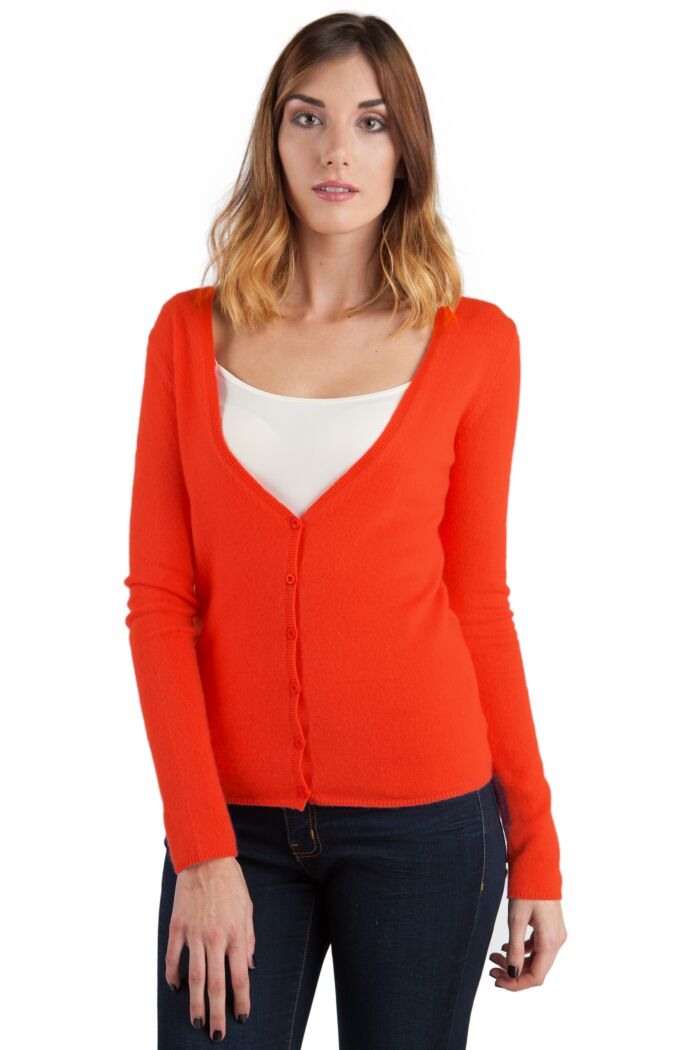 Orange Cashmere Long Sleeve V Neck Cardigan Front View