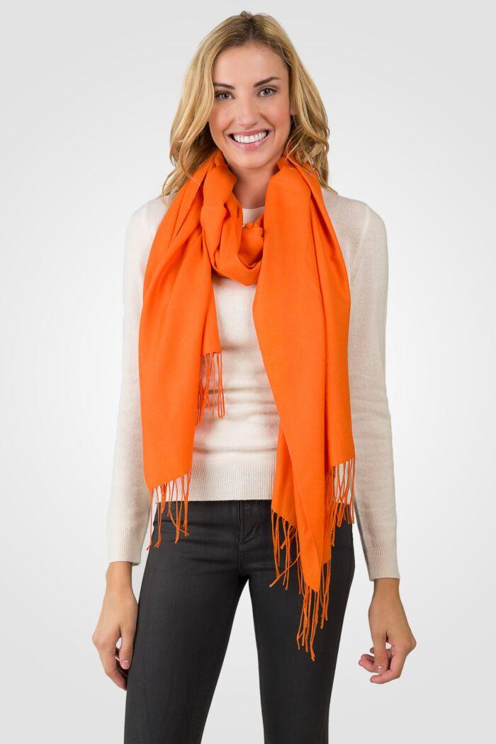 Orange Tissue Weight Wool Cashmere Wrap front view