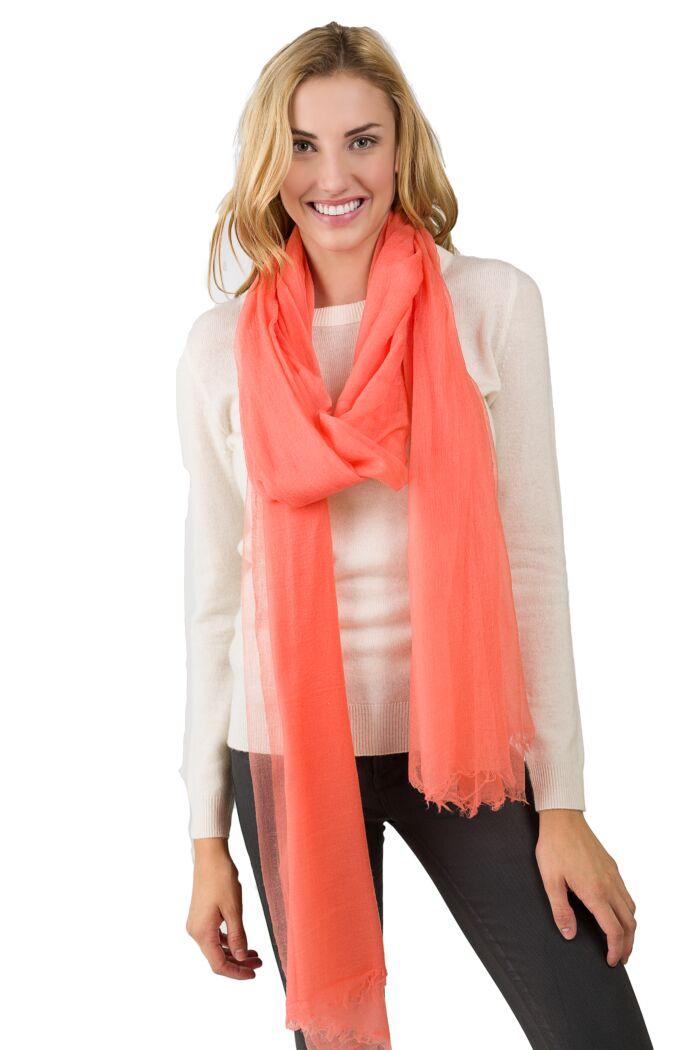 Peach Tissue Weight Air Cashmere Shawl Wrap