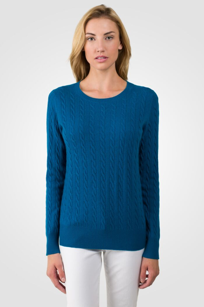 Peacock Blue Cashmere Cable-knit Crewneck Sweater front view