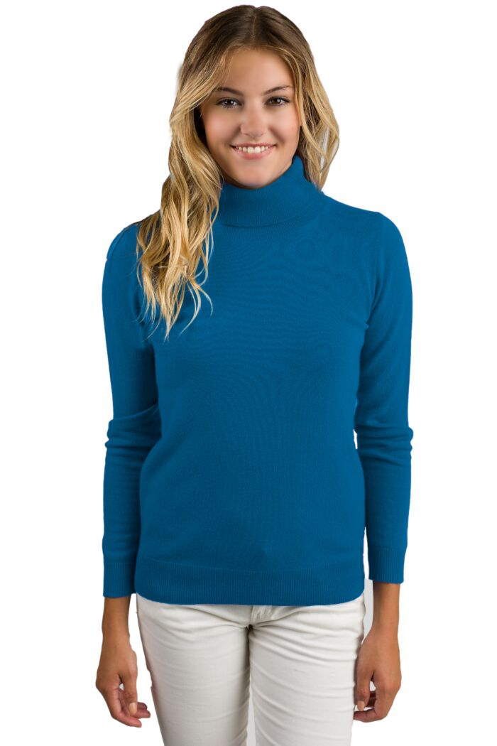 Peacock Cashmere Long Sleeve Turtleneck Sweater Front View