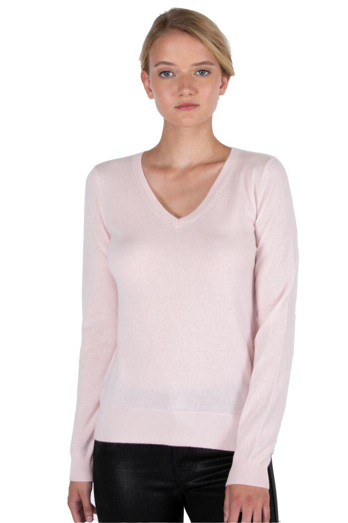 JENNIE LIU Women's 100% Pure Cashmere Long Sleeve Pullover V Neck Sweater(M, Petal Pink)