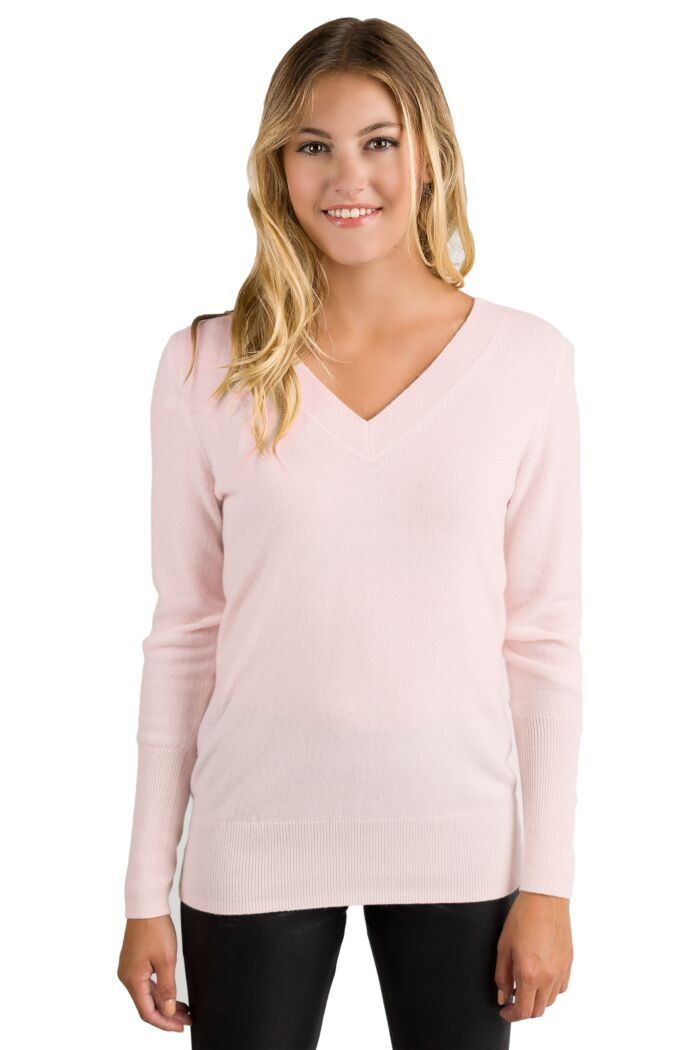 Petal Pink Cashmere Long Sleeve Ava V Neck Sweater Front View