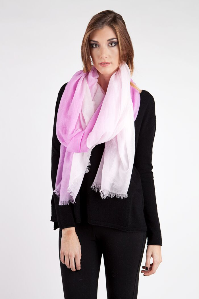 Pink Ombre Tissue Weight Air Cashmere Shawl Wrap
