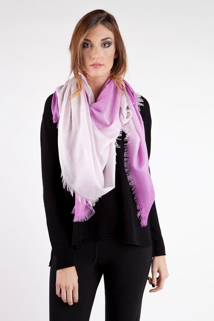 Pink Ombre Tissue Weight Silk Cashmere Shawl Wrap