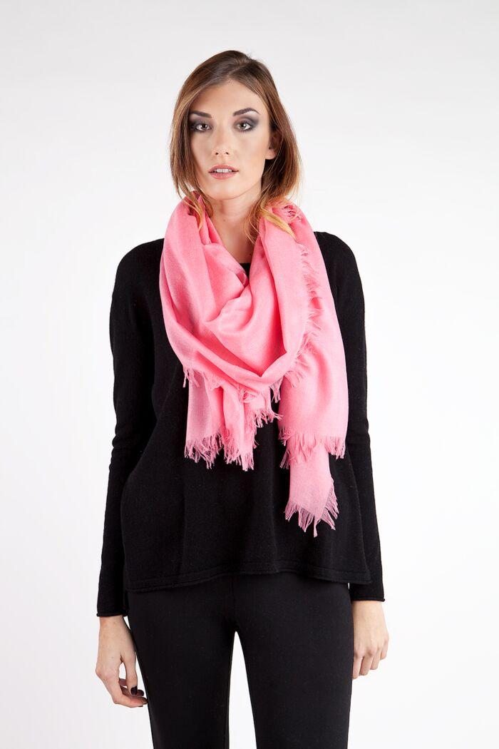 Pink Tissue Weight Silk Cashmere Shawl Wrap
