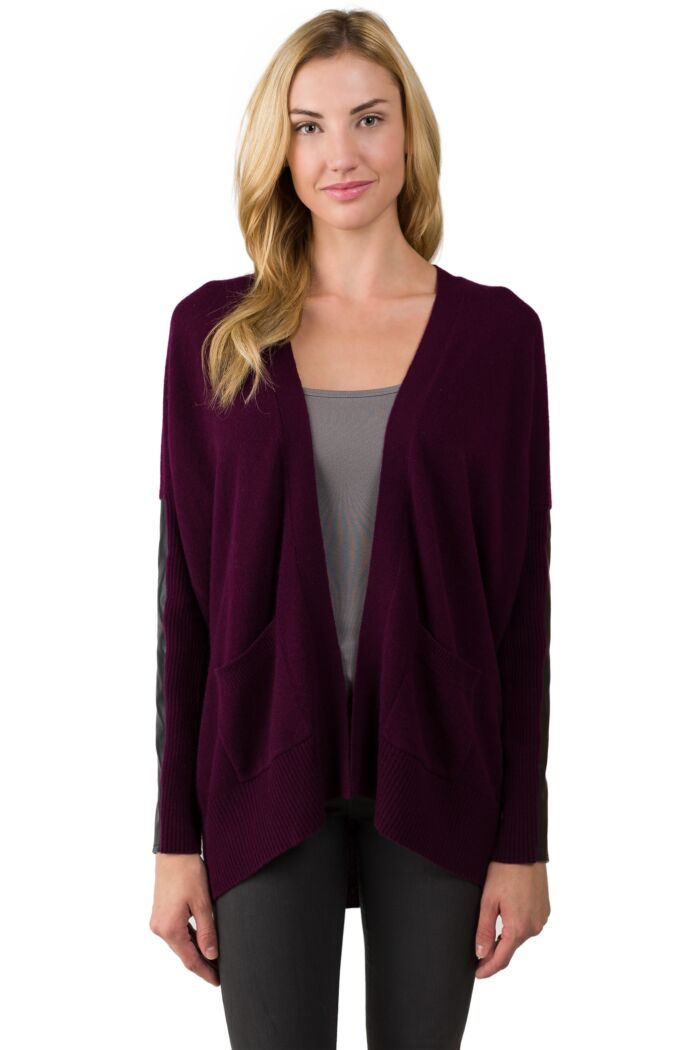 Plum Cashmere Dolman Cardigan Tunic Sweater front view