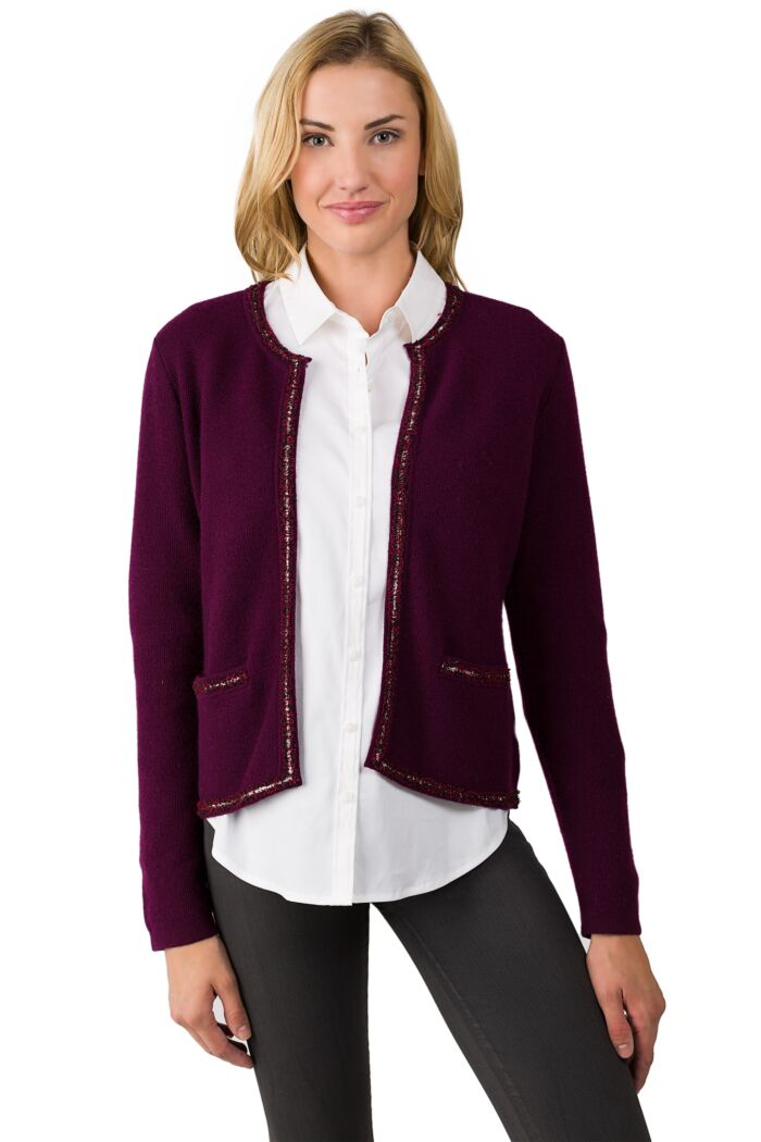 Plum Cashmere Lace-trim Crop Cardigan Sweater front view