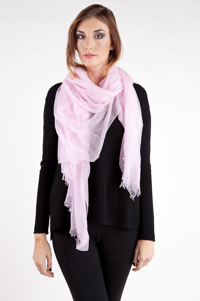 Powder Pink Tissue Weight Air Cashmere Shawl Wrap