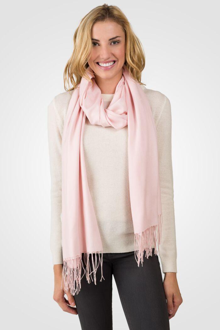 Powder Pink Tissue Weight Wool Cashmere Wrap front view