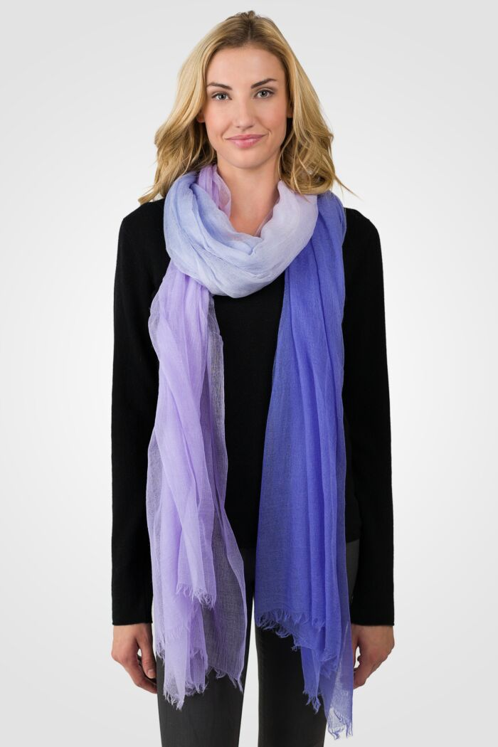 Purple Ombre Tissue Weight Air Cashmere Shawl Wrap