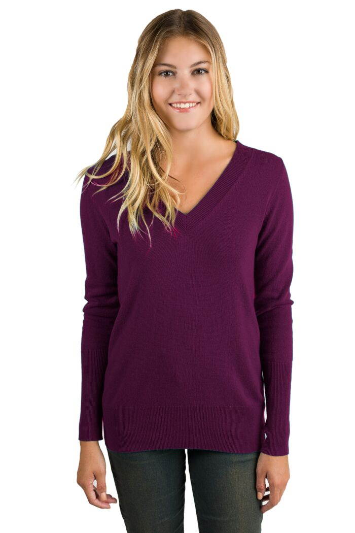 Plum Cashmere Long Sleeve Ava V Neck Sweater Front View