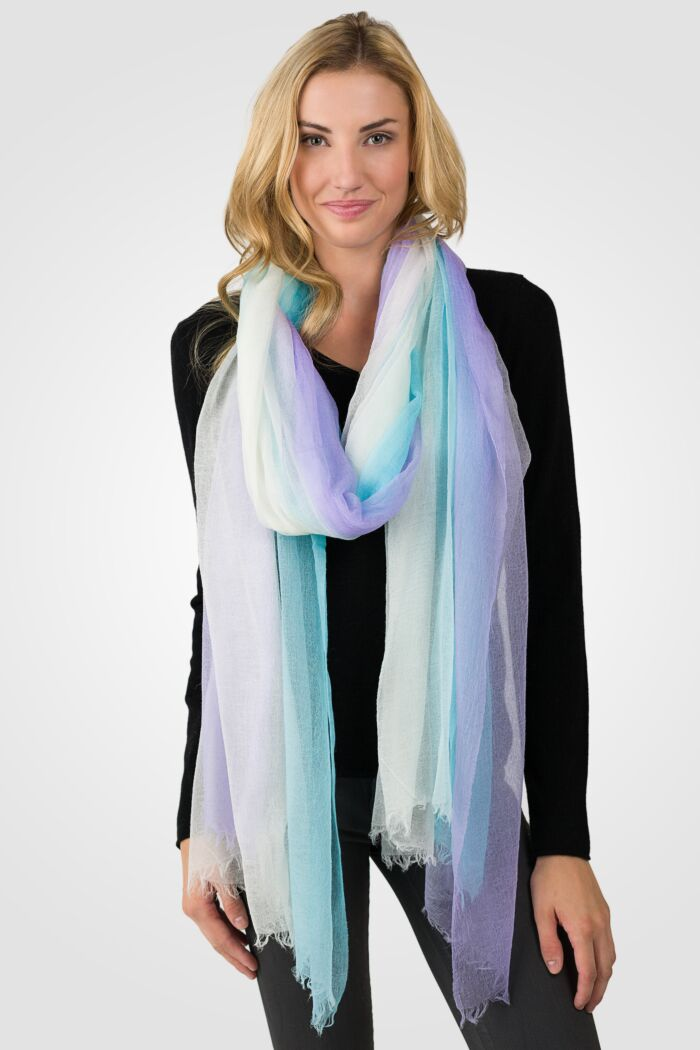 Rainbow Ombre Tissue Weight Air Cashmere Shawl Wrap