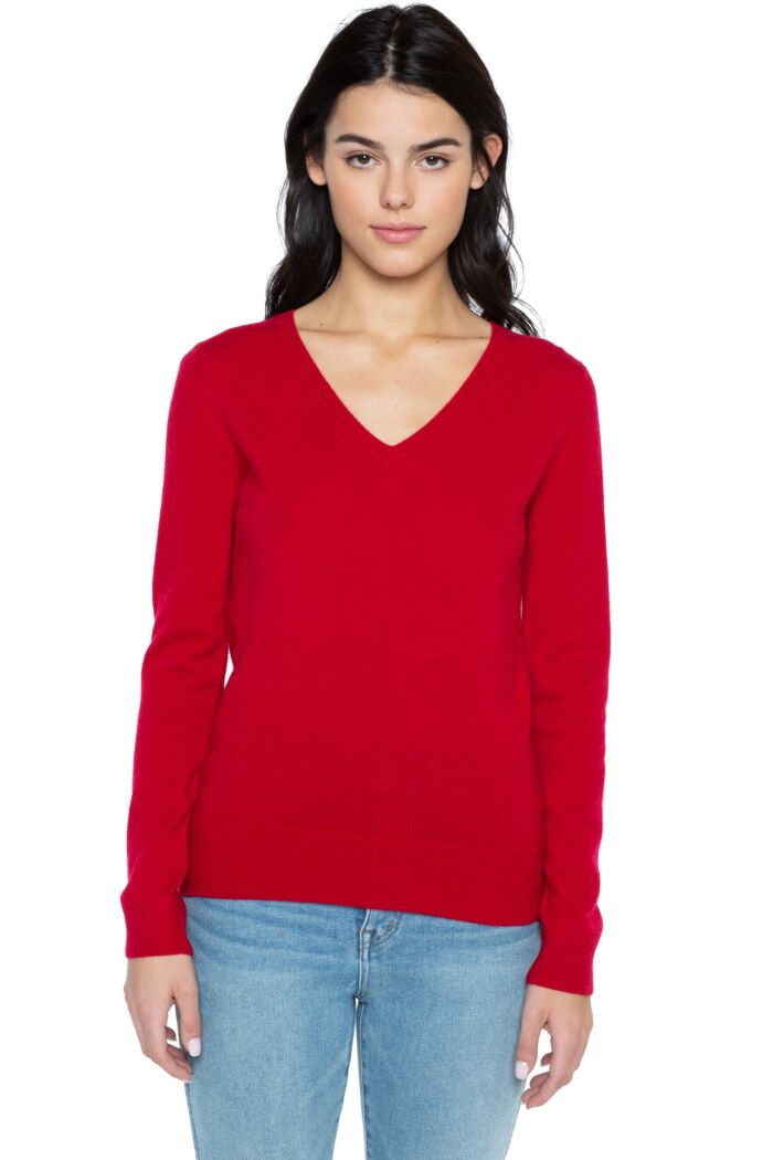 JENNIE LIU Women's 100% Pure Cashmere Long Sleeve Pullover V Neck Sweater(L, Red)